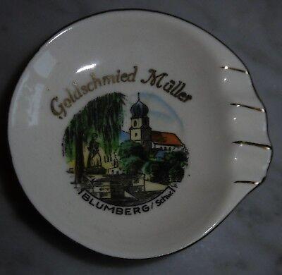 reklame aschenbecher gold schmied blumberg schwarzwald porzellan ascher alt bild 2