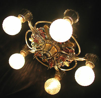 Antique Art Deco Victorian Cast Metal Chandelier Ceiling Light Fixture 20's 2
