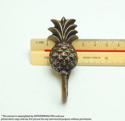 2.87 inches Vintage PINEAPPLE Fruits Strong HOOK Hanger Brass Coat Hat Hanger 7