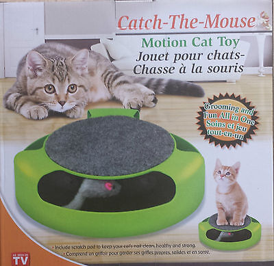 Catch The Mouse Motion Moving Cat Scratch Pad Toy Claw Care Mat +Free Catnip 2