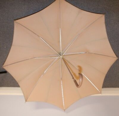 BEIGE,ORIGINAL VINTAGE 1960s UMBRELLA