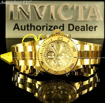 NEW Invicta Mens 18K Gold Plated Stainless Steel Golden Dial Chronograph Watch!! 6