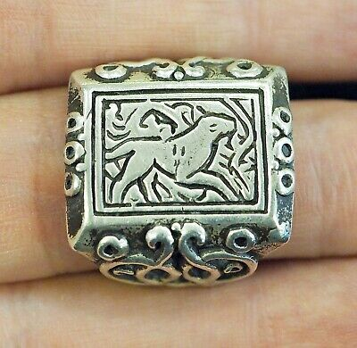 Antique intaglio Signet Tiger  Walking in a jungle Sterling Silver Power Ring 10