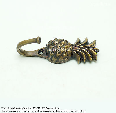 2.87 inches Vintage PINEAPPLE Fruits Strong HOOK Hanger Brass Coat Hat Hanger 4