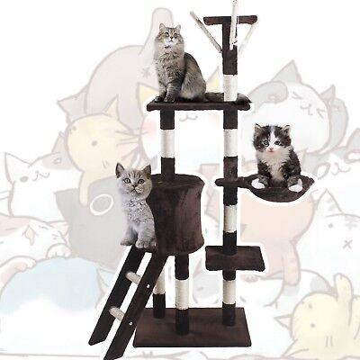 🐈JL Comfurni Cat Tree Sisal Scratching Post Kitten Scratcher Nest Tower High 8