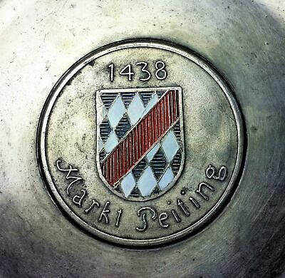 Peiting Family Crest Coat of Arms German 70th Birthday Pewter Plate 1969 2