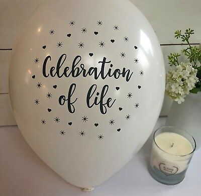 Angel & Dove 25 White 'Celebration of Life' Biodegradable Latex Funeral Balloons 3