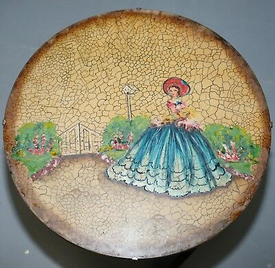 Rare English Oak Tilt Top Side Table With Hand Painted Picture Glass Case Lovely 3