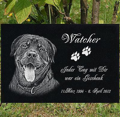 GRANIT GRABSTEIN Grabdekoration Tiergrabstein Hund g39 ►20 x 15 cm◄ Foto Gravur
