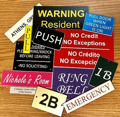 """1"""" x 3"""" CUSTOM Laser ENGRAVED Plastic NAMEPLATE Personalize Sign Tag Name Plate 2"""