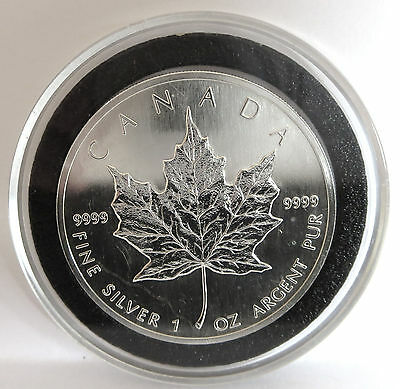 1990 Queen Elizabeth .9999 Fine Silver Vintage Canada Maple Leaf Coin 1 Troy Oz 7