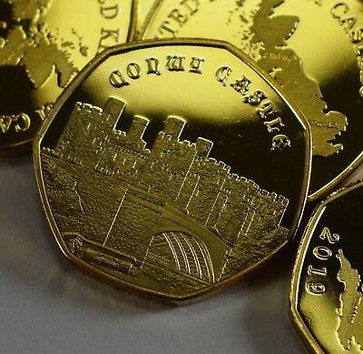 Pair of CONWY CASTLE Commemoratives. 24ct Gold. Silver. Albums/Filler NEW 2019 10