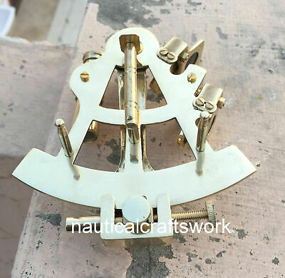 "Maritime  Astrolabe Model Sextant - Gift Solid Ship Brass Hand-Made 5"" Sextant 3"