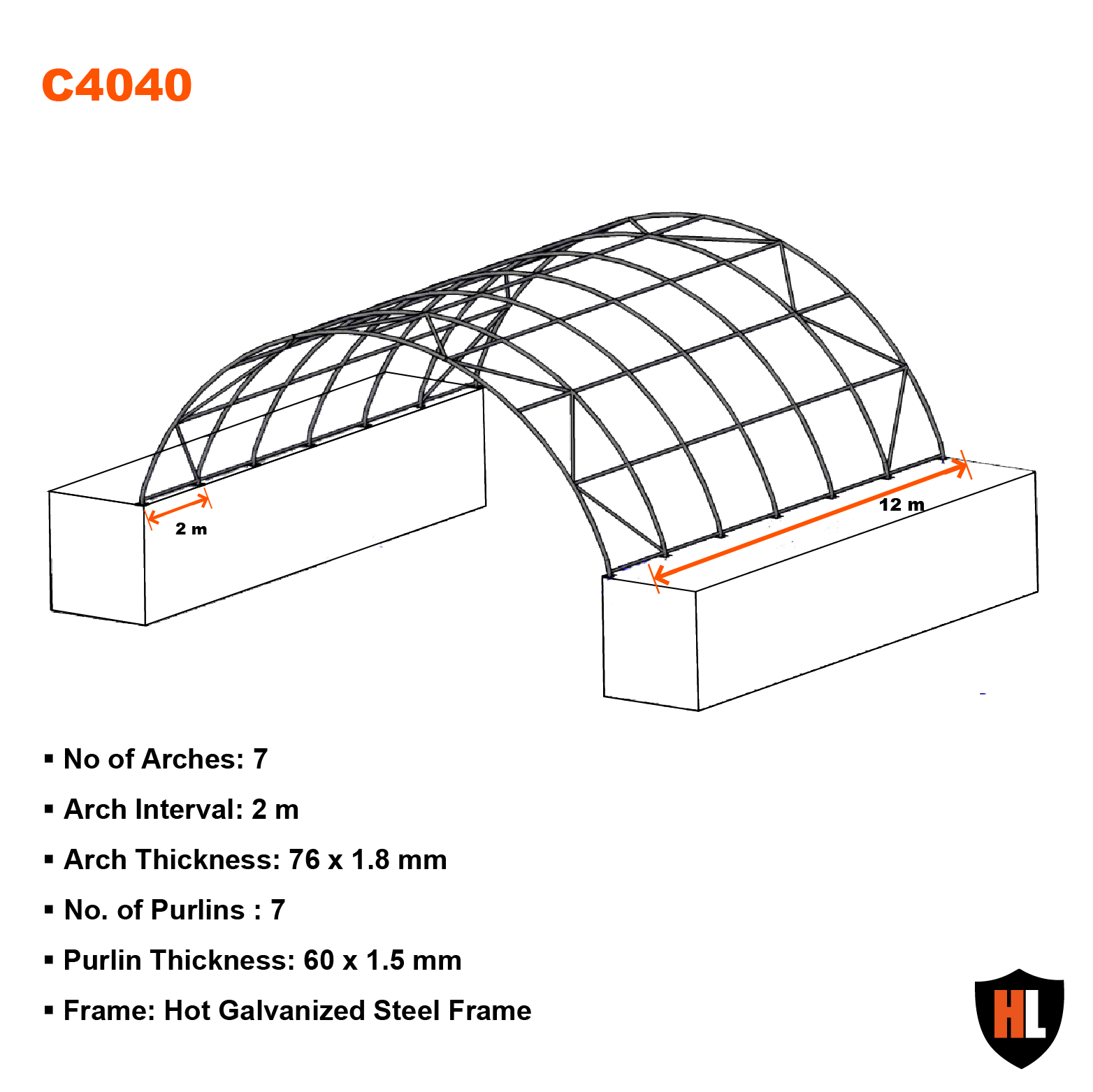 40 x 40 FT SHIPPING CONTAINER CANOPY / SHELTER, SHED - GALVANISED STEEL FRAME 3