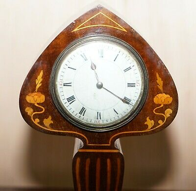 Stunning Richard & Co Art Nouveau Mahogany Inlaid Mantle Clock Ace Of Spades 4