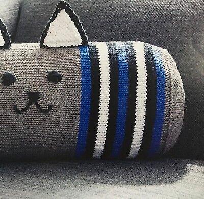 KNITTING PATTERN Cat Character Bolster Cushion Sofa Pillow Home Ears Face Aran