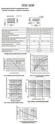 50PCS SS34 1N5822 3A/40V SMA DO-214AC SMD Schottky Diodes