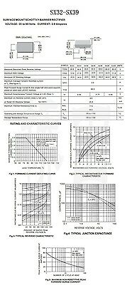 50PCS SS34 1N5822 3A/40V SMA DO-214AC Schottky Diodes