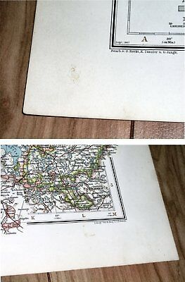 1907 Antique Map Of Schleswig-Holstein Mecklenburg Hamburg Germany Denmark 5