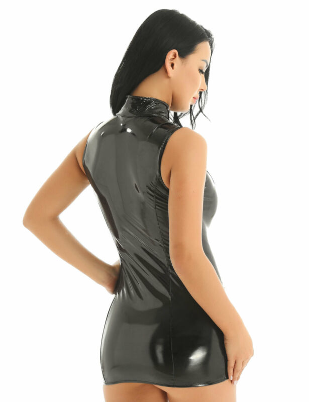 Damen Wetlook Bodycon Kleid Minikleid mit Stehkragen Leder-Optik Gogo Clubwear 5