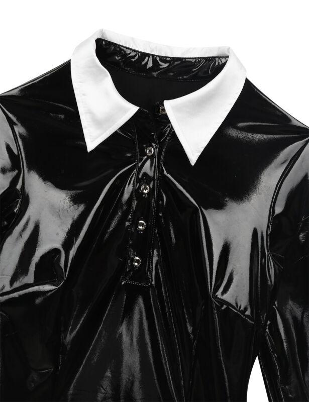 Damen Wetlook Leder-Optik Kleid Gothic Langarm Minikleid Halloween Paty Kostüm 6