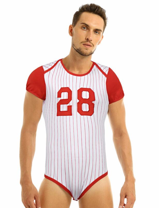 Herren Body Kurzarm Overall Baseball Druckknöpfe im Schritt Strampler Pyjamas 3