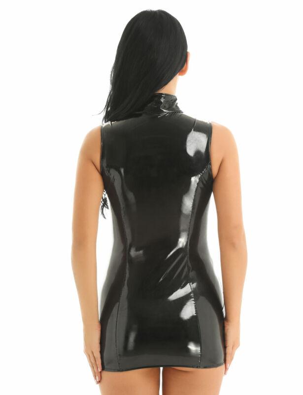 Damen Wetlook Bodycon Kleid Minikleid mit Stehkragen Leder-Optik Gogo Clubwear 2