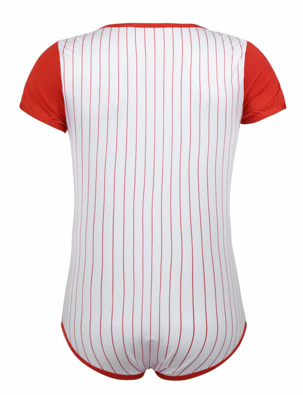 Herren Body Kurzarm Overall Baseball Druckknöpfe im Schritt Strampler Pyjamas 11