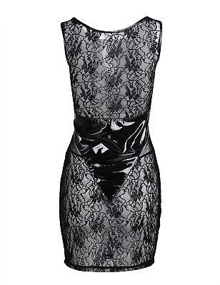 Damen Wetlook Minikleid Partykleid Transparent Bodysuit Spleiß Reizvoll Clubwear 10
