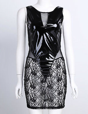Damen Wetlook Minikleid Partykleid Transparent Bodysuit Spleiß Reizvoll Clubwear 11