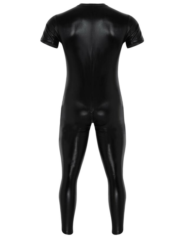 Männer Wetlook Ganzkörper Body Herren Ganzkörperanzug Overall mit Reißverschluss 2