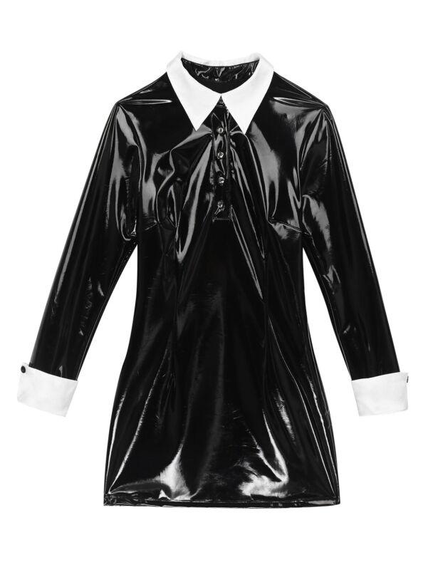 Damen Wetlook Leder-Optik Kleid Gothic Langarm Minikleid Halloween Paty Kostüm 9