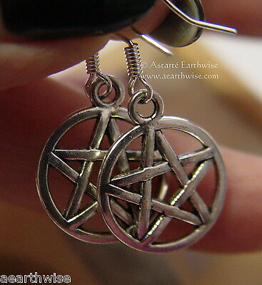 PENTACLE EARRINGS 925 STERLING SILVER HOOKS Wicca Witch Pagan Goth PENTAGRAM