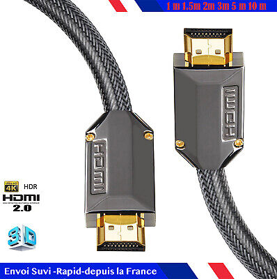 Câble HDMI HD v2.0 Haute Vitesse 4K 2160p 3D 1m/2m/3m/4m/5m/7m/10m nylon coton 3
