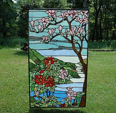 "20"" x 34"" Tiffany Style stained glass Jeweled window panel Cherry Blossom 2"