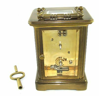 MATTHEW NORMAN LONDON SWISS MADE Brass Carriage Clock with Key : Working (49) 8