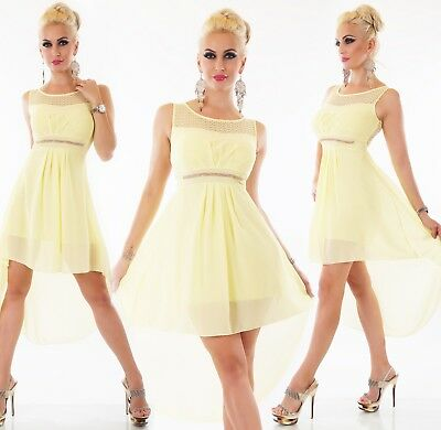 Italy Damen Kleid Chiffon Vokuhila Chiffon Party Abend Ball Cocktail Strass Eur 29 99 Picclick De