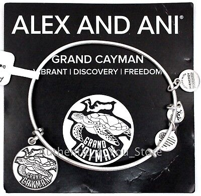 NEW ALEX AND ANI Grand Cayman Exclusive SILVER Turtle Charm Bangle Bracelet