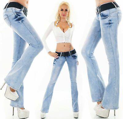 Femmes Jeans Bootcut Pantalon Remontant Stretch Ceinture Inclus Bleu Clair 6-14