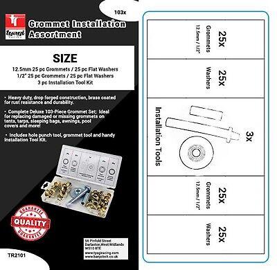 "1//2/"" Grommet Installation Tarpaulin Tent Tarp Eyelet Repair Kit Tool Set 103pcs"