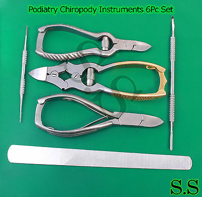 Podiatry Chiropody Instruments 6Pc Set -nail Nippers Clippers -nail Files BTS-99 2