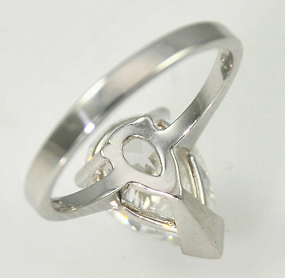 3 ct Pear Ring Vintage Brilliant Top Russian CZ  Moissanite Simulant Sz 8 SS
