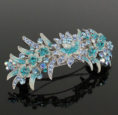 Wild Floral Enamel Hand-Painted Blue Austrian Rhinestone Hair Barrette Clip B119