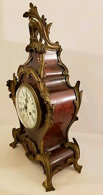 Antique 1855 V. Depose French Boulle Victorian Red Shell Bracket Mantel Clock 2