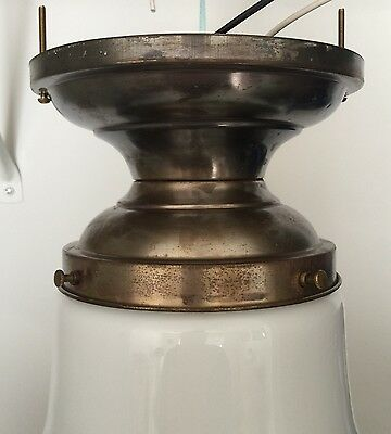 Antique Fixture Globe Wired School House Finial Decorative Art Great!! 7