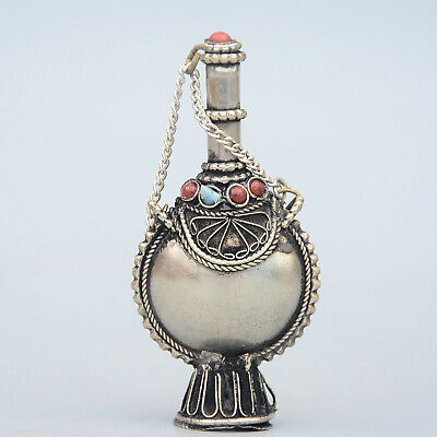 Collection China Old Miao Silver Armour Turquoise Hand-Carved Noble Snuff Bottle 3