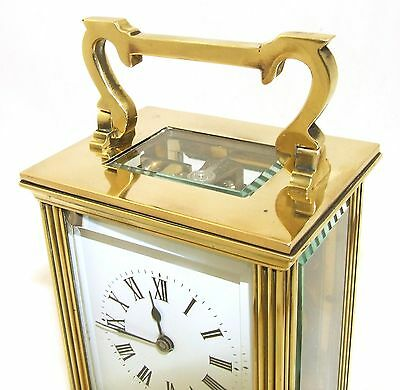 French Brass Carriage Clock with Bevelled Glass & Winding Key WORKING 4
