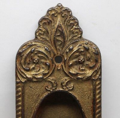 Cast Iron Gilded Pocket Door Plate