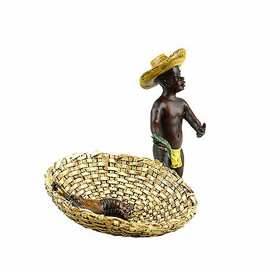 Handbemalt Tolle Wiener Bronze Figur Fischhändler Mohr Fischer Gestempelt