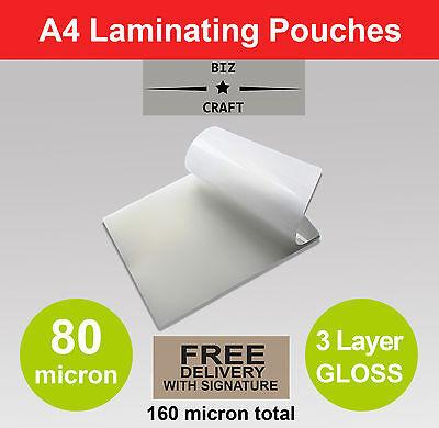 1000x A4 Laminating Pouches 80 micron Gloss 3 Layer BULK WHOLESALE FREE SHIPPING